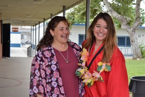 Tracy Elementary third-grade teacher Sam-Ana Fenwick and Sierra Vista senior Alissa Orozco reunite for the high school's first-ever Senior Walk. More than 230 graduates to be thanked past elementary teachers for influencing their academic careers.
