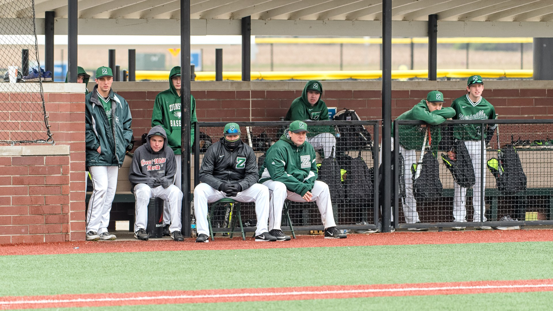 Zionsville Eagles Baseball team in dugout photo