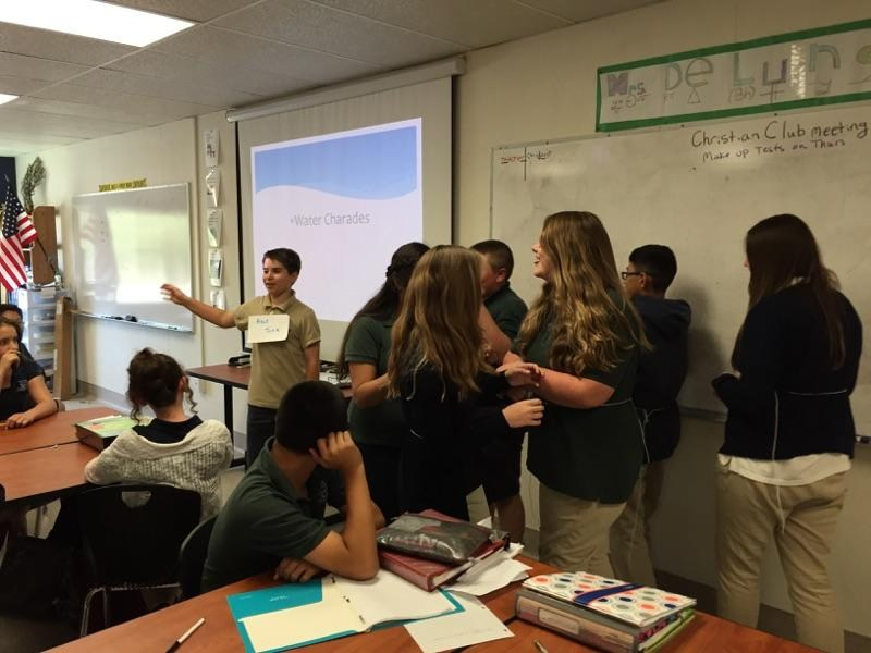 In their aquatic biology lab this week, the seventh grade students acted out water charades to help describe the chemical properties of water.