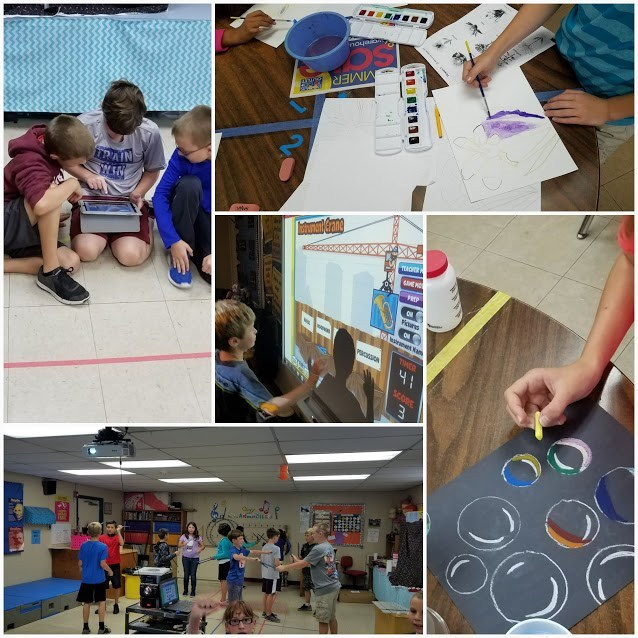 picture collage of art and music class at mission valley elementary