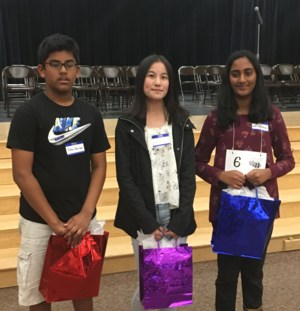 Congratulations to our Rio Norte Spelling Bee Winners!  1st Place-Gowri Jamadagni, 2nd Place-Catherine Chen, 3rd Place-Jathin Korrapati!