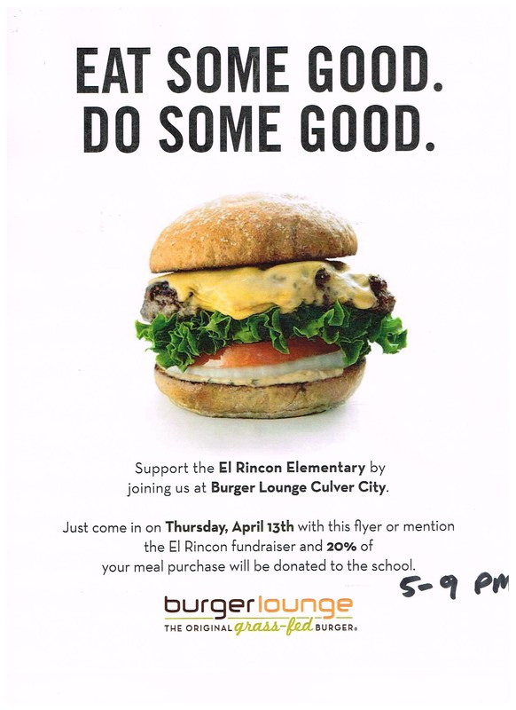 Family Fun Fundraiser Dinner at Burger Lounge in Culver City- April 14th -5:00-9:00pm Thumbnail Image