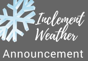 Inclement Weather Announcement Header with Gray Background and Blue Snowflake
