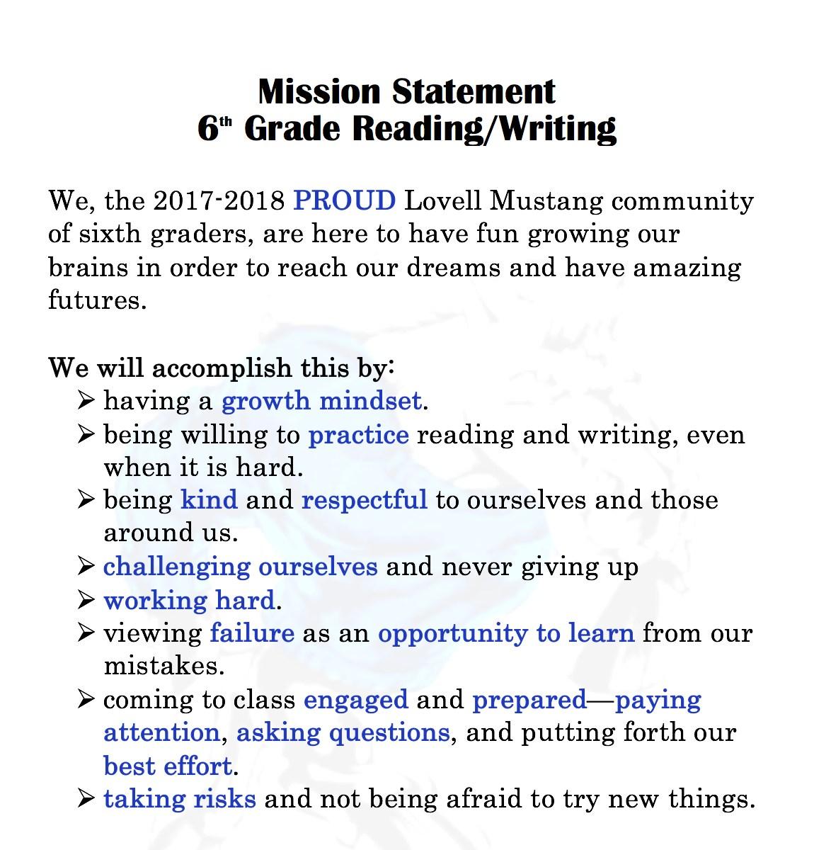 2017/2018 Student Mission Statement