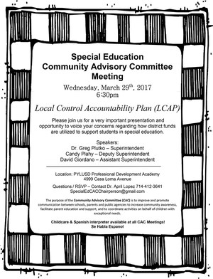 CAC March meeting flier in English