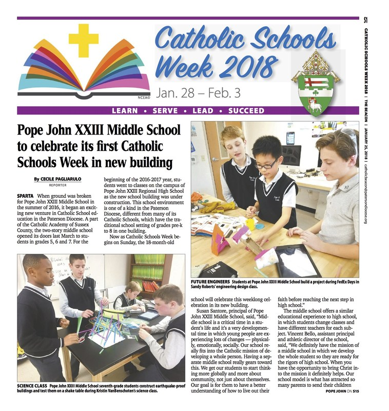 Pope John XXIII Middle School to celebrate its first Catholic Schools Week in new building Thumbnail Image