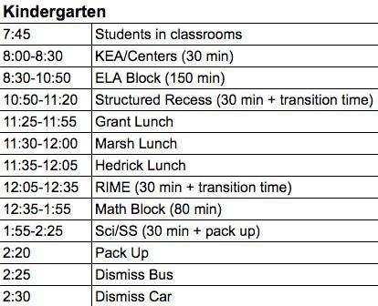 Image of Kindergarten regular schedule