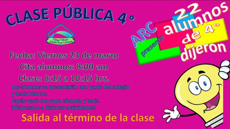 INVITACIÓN CLASE PÚBLICA 4º Featured Photo