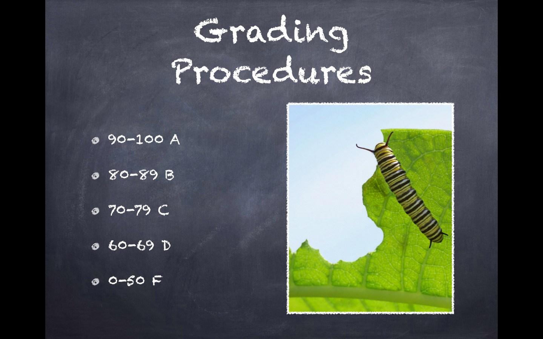 Grading Procedures: 90-100 A 80-89 B 70-79 C 60-69 D 0-50 F
