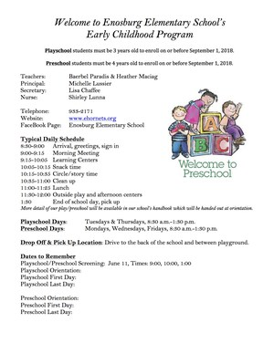 Information regarding Early Childhood Program
