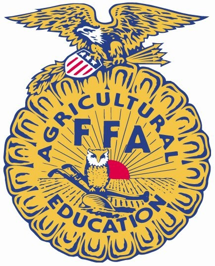 Official FFA Emblem consisting of a cross section of an ear of corn, an owl, the rising sun, an American Flag, and the words FFA, and Agricultural Education