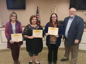 District Teacher of the Year Winners (L-R) Kimberly Hubbard - High School, Kim Holdsambeck - Middle School, Petra Hunter - Elementary School, Duane McGee - Superintendent.