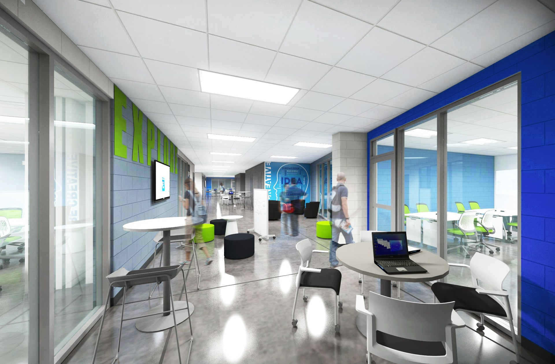 Rendering of a collaboration room at renovated MNTHS.