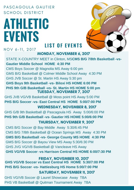 Athletic Events for Week of November 6, 2017