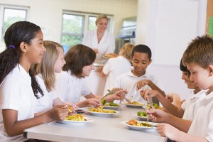 Students eating in cafeteria