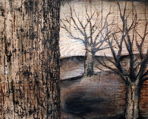 wood burning of trees
