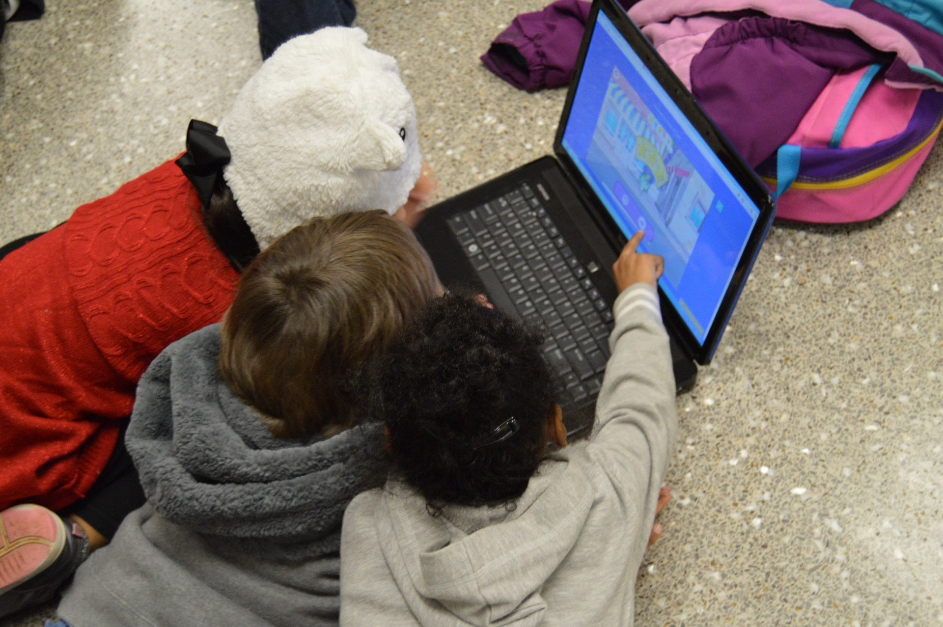 Students coding at South Newton