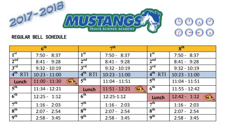 Travis regular bell schedule