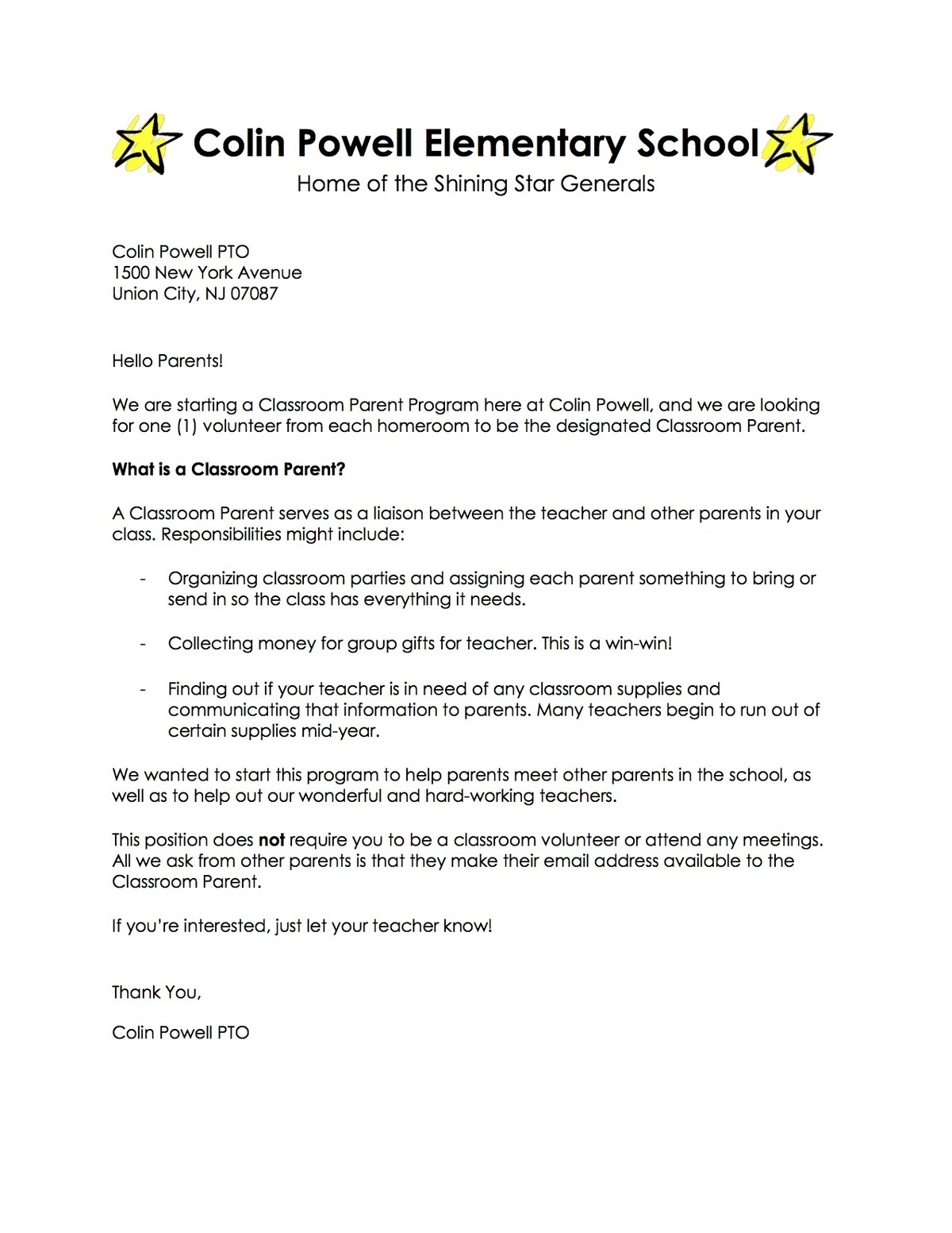 parent volunteer letter