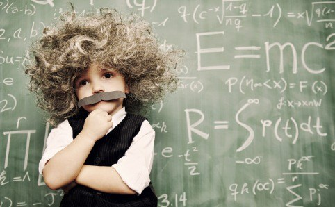 Young student imitating Einstein.