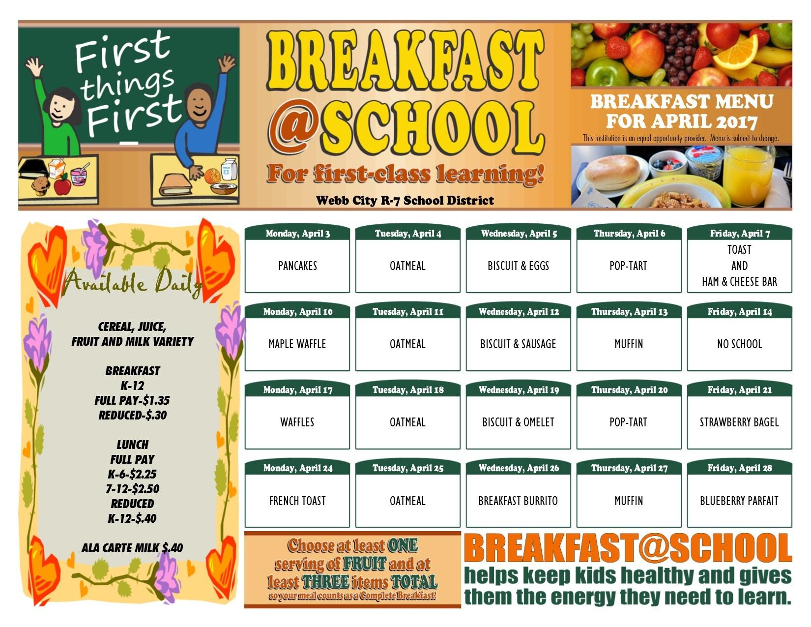 Breakfast & Lunch Menus – Food Menu – Webb City R-VII School District