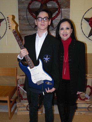 picture of Trenton with RCJH principal, Ana Lisa Flores