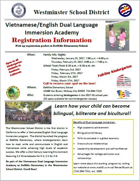 Vietnamese Dual Immersion Registration Info 2017 - English