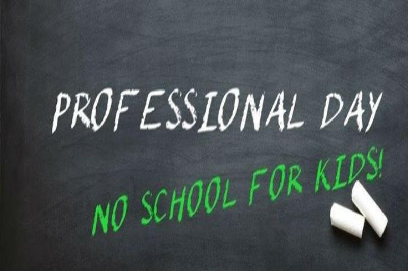 chalkboard with Professional Development/No schoo for kids written on it.