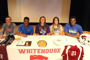 Pictured (L-R) - Chance Stephenson (track - Texas Tech); Shemar Smith (track - Houston Baptist); Beth Hood (track - SFA); Brittany Taylor (volleyball - Howard Payne); Isiah Clark (football - Angelo State)
