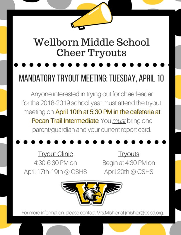 Flyer with tryout information for WMS Cheer.