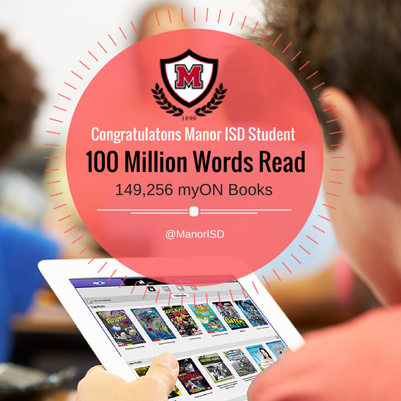 MyON and Manor ISD celebrate 100 million words read Thumbnail Image