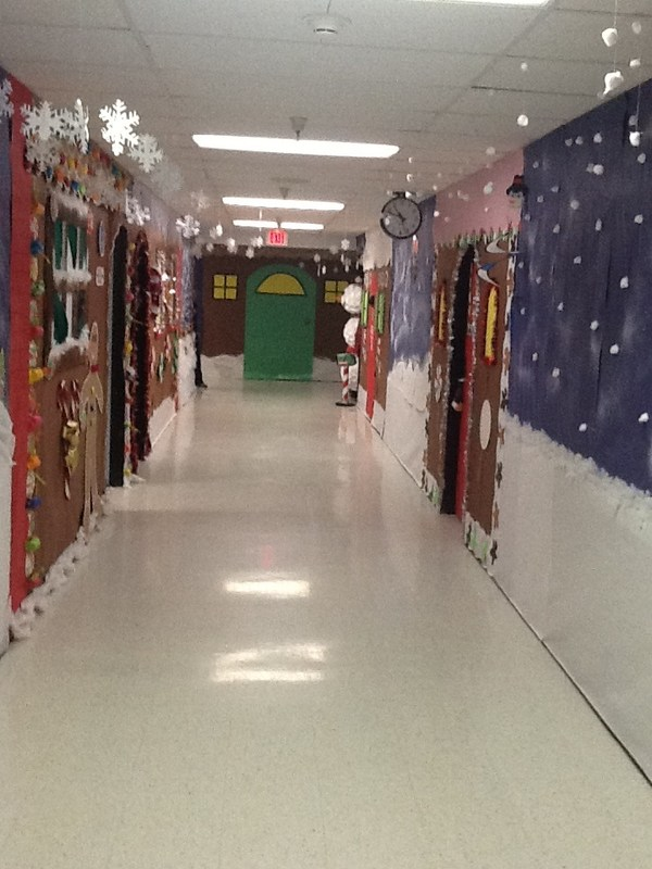 A hallway decorated for Christmas.