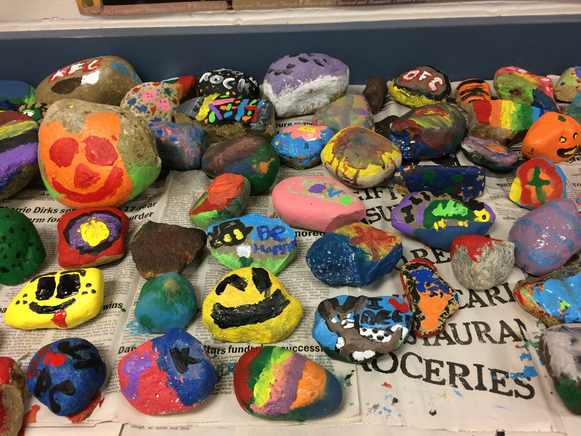 Picture of serveral Painted rocks