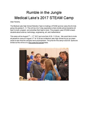 STEAM Camp Flyer August 7-11 8:30 - 11:30