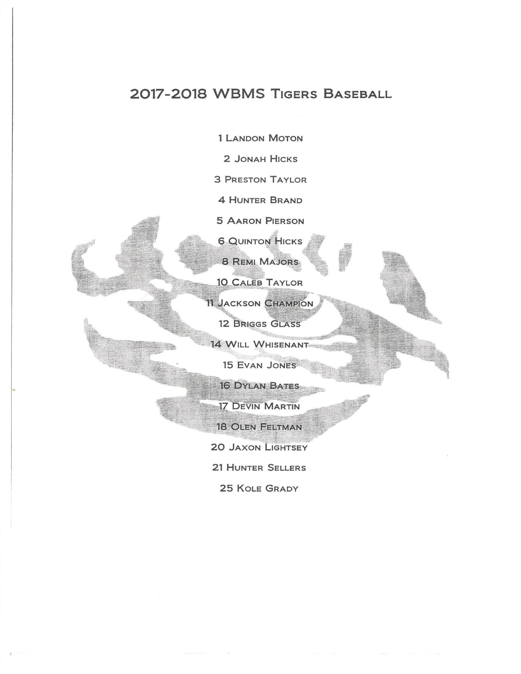 2017-18 WBMS Boys Baseball Roster