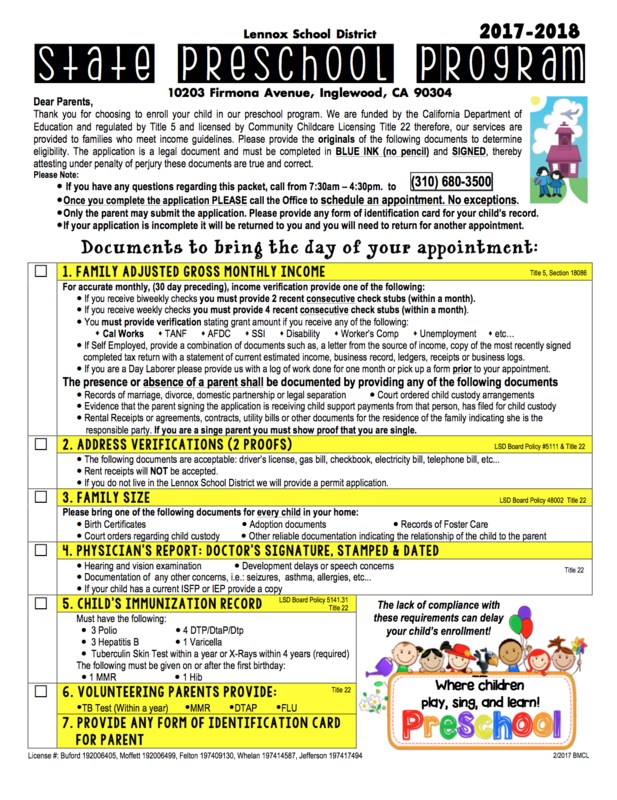 image of lennox state preschool enrollment application