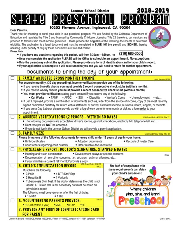 2018-2019 preschool application