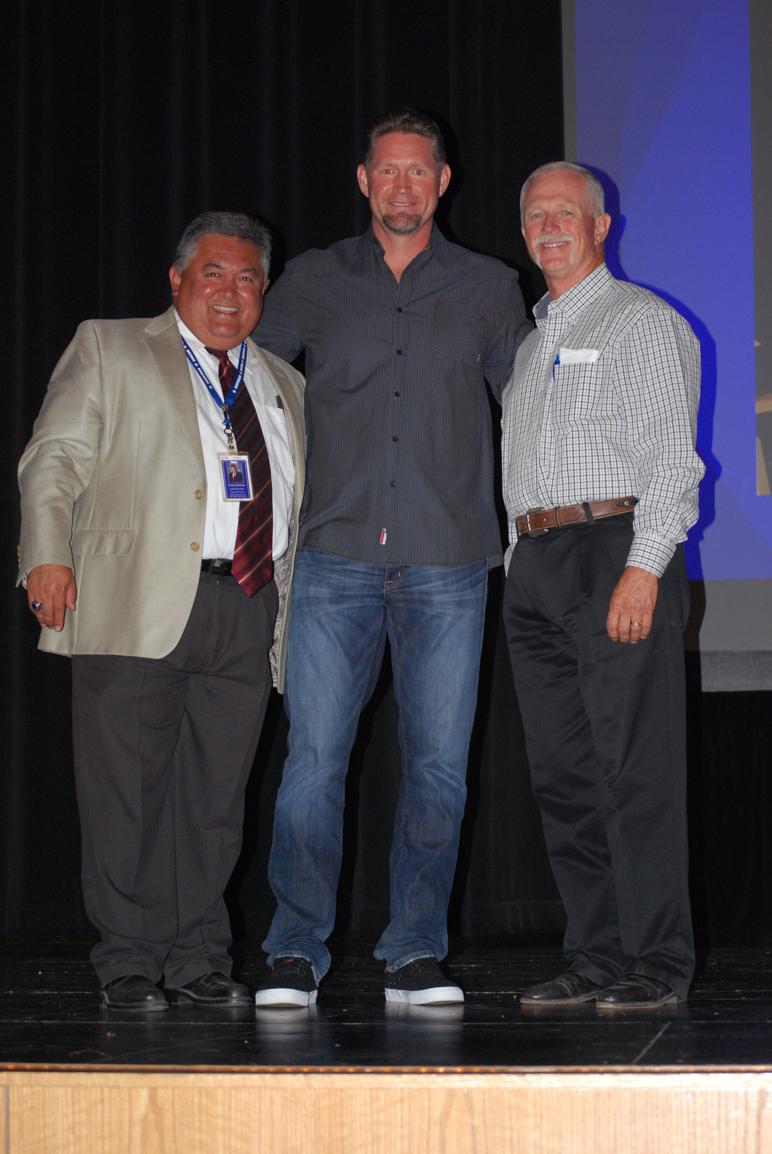 Inductee Aubrey Huff (1995) is pictured with Superintendent Frank Molinar and former Brewer baseball coach Terry Massey, a 2010 and 2011 inductee.