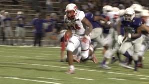 Mustang Running Back Tahj Brooks runs for a touchdown against LBJ.
