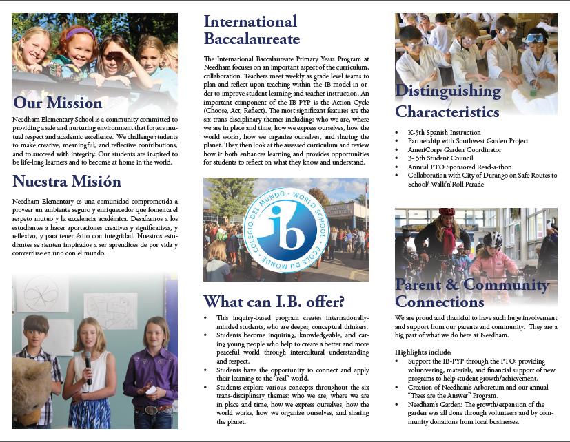 Inside of school brochure.