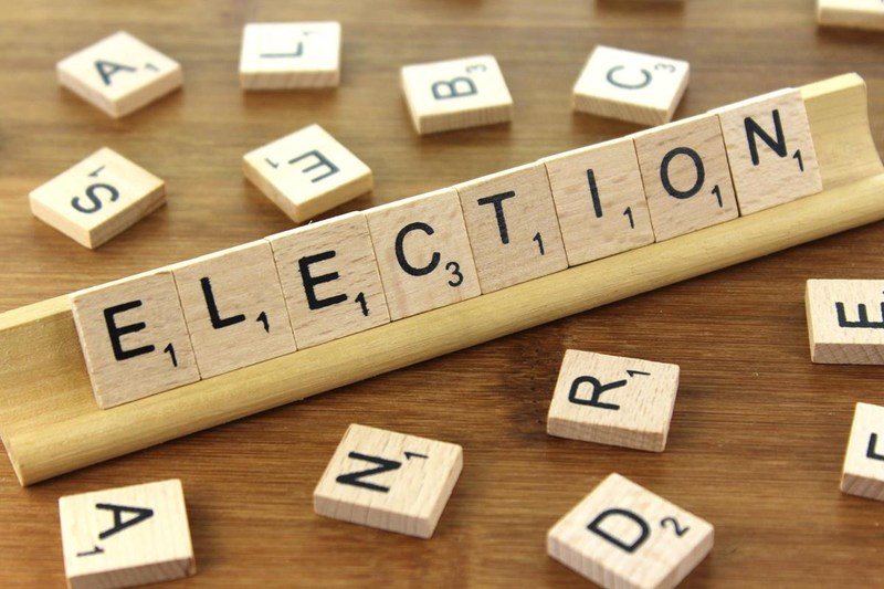 Scrabble tiles spelling out Elections