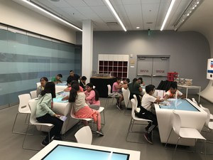Student work in an interactive classroom at Levi's Stadium