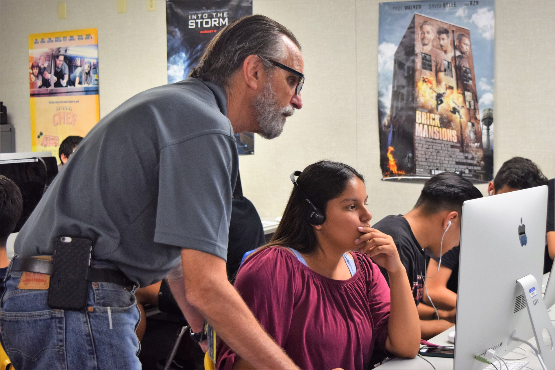 Baldwin Park High School media production teacher Don Appleby guides students through the basics of film and television studies.