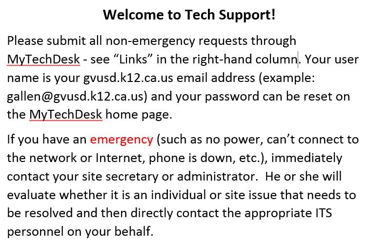 Tech Support Info