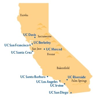 University of California Universities Map