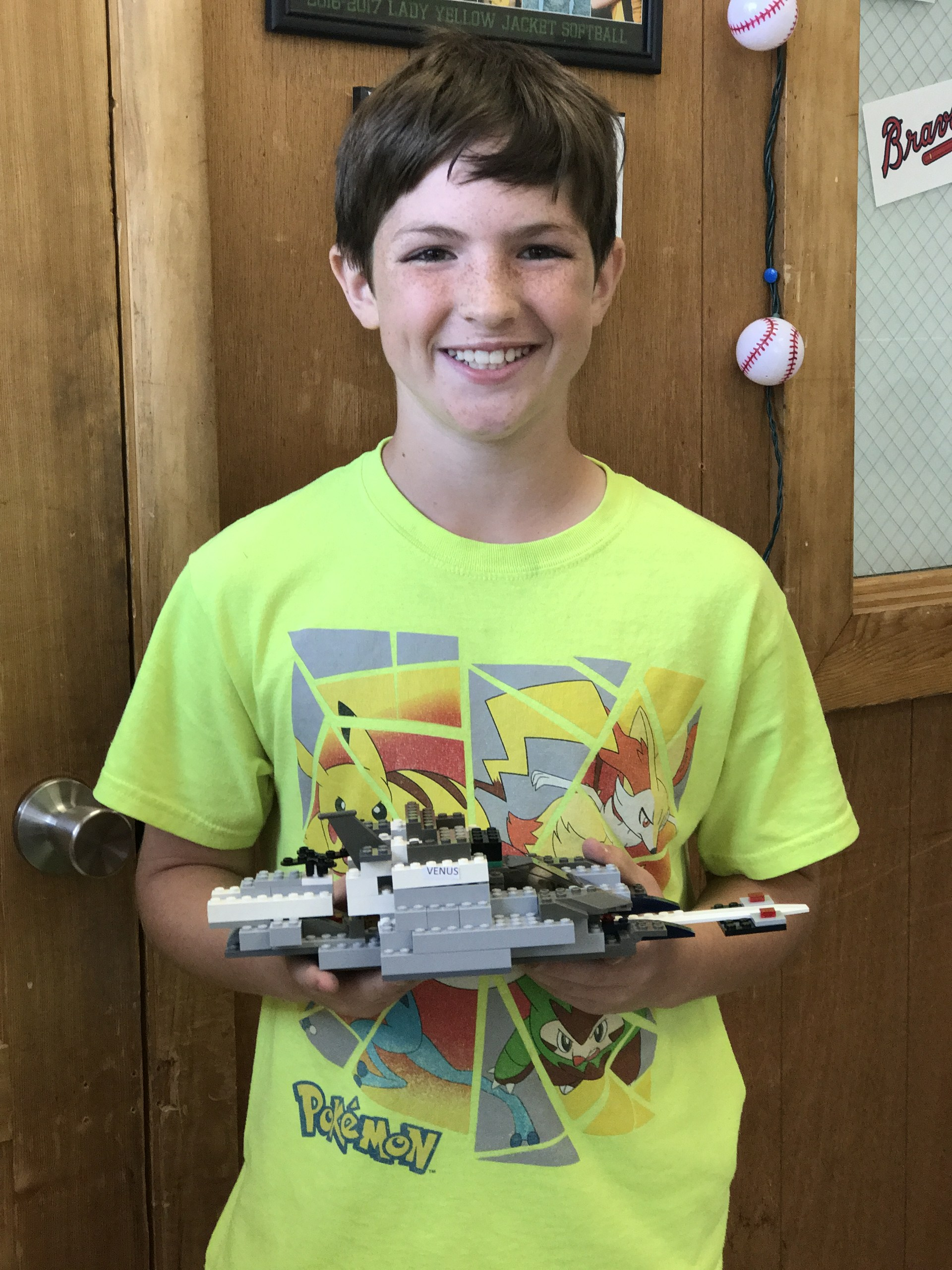 Nathan used Legos to build a spacecraft