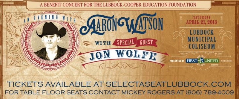 Lubbock-Cooper Education Foundation to Host Evening with Aaron Watson Saturday, April 21 Thumbnail Image