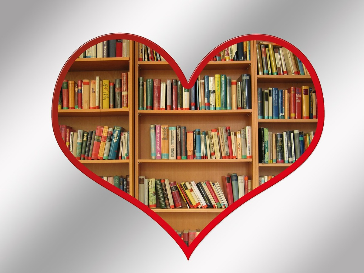 Books shelved in a heart shape