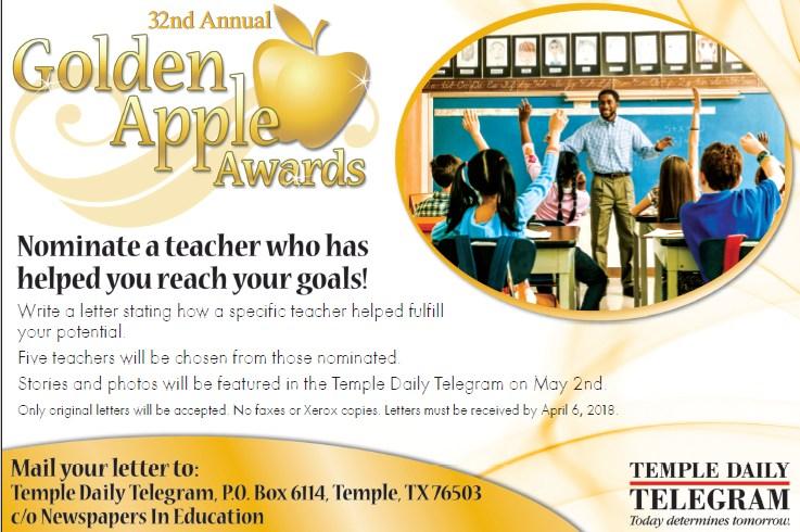 Nominate an outstanding teacher for a Golden Apple Award.