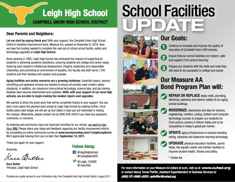 Leigh High School facility, safety, and technology upgrade mailer